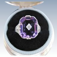 Art Deco Amethyst Diamond Ring Filigree 9K White Gold Vintage Size 5.25