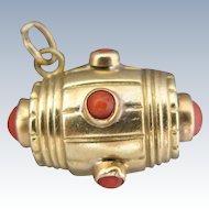 18K Gold Coral Charm Antique Victorian Keg Barrel