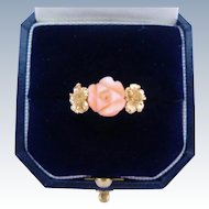 Vintage 14K Coral Ring Carved Angel Skin Rose Gold Hibiscus Flowers Size 6