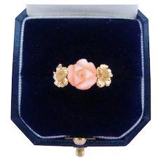 Vintage 14K Coral Ring Carved Angel Skin Rose Gold Hibiscus Flowers Size 6