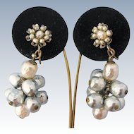 Miriam Haskell Vintage Earrings Faux Baroque Pearl Cluster Floral Drop Dangle