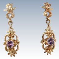 14K Gold Amethyst Dangle Earrings
