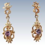 14K Gold Amethyst Dangle Earrings