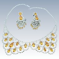Robert Original Collar Necklace And Drop Earring Set Vintage Lemon Yellow Golden Amber Rhinestones