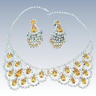 Robert Original Collar Necklace And Drop Earring Set Vintage Lemon Yellow Golden Amber Rhinestones