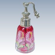 DeVilbiss Atomizer Perfume Cranberry Glass With Enamelled Flowers