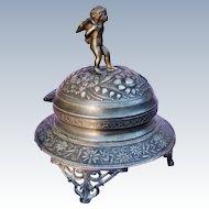 Antique Meriden Dresser Box Jar Cherub Putti Cupid Finial