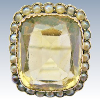 10K White Gold Citrine Seed Pearl Ring