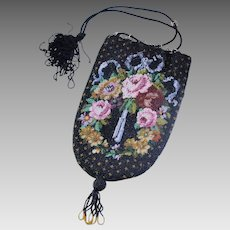 Antique Floral Micro Beaded Drawstring Reticule Purse
