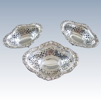 BIRKS Sterling Silver Candy Dish Set Footed Pierced Repousse