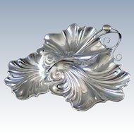 Antique English Sterling Silver Large Handled Three Part Bon Bon Nut Dish