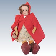 Bisque Head Soft Body Doll Red Riding Hood