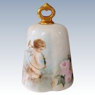 Antique Hand Painted Cherub And Roses Bell O. & E.G, Austria