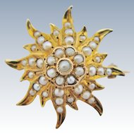 Antique Starburst Brooch Pendant 14K Gold Victorian Seed Pearls