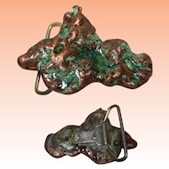 Copper Mineral Belt Buckle Free Form 3.5 x 2