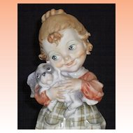 Armani Young Girl holding Puppy Dog  1983 Florence with Orig Tag