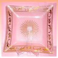 """Vintage Glass and Gold Tray / Platter--  Large - 13 ½"""" across"""
