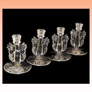 Paden City Crystal Candlesticks with Sterling Silver Overlay 1930's Maya Butterfly