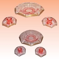 Pink Tiffin Glass Franciscan Rolled Rim Console Bowl and Candle Holders Rambler Rose Pattern