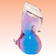 Blue Purple and Clear Murano Blown Glass Bird Figurine