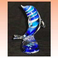 Hand Blown Glass Crystal Striped Dolphin Figurine Paperweight with Swimming Dolphins Base