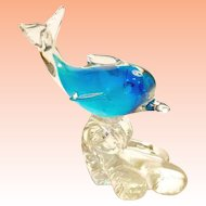 Blue Glass Dolphin Riding Crest of Wave Figurine