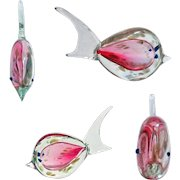 Murano Pink Clear Speckled Fish Figurine.