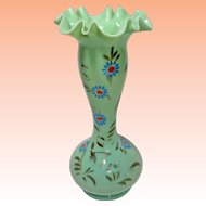 Bristol Glass Ruffled Enameled Green Vase