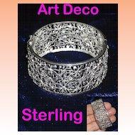 Art Deco Sterling Silver Floral Filigree Bracelet Germany