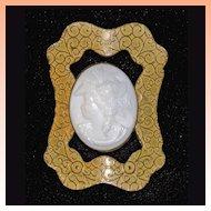 Victorian Glass Cameo Sash Pin Brooch Roman Goddess Amphitrite   Huge  C1880's