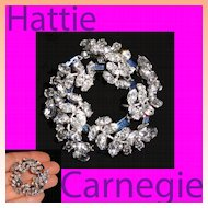 Hattie Carnegie Blue Baguette Crystal Rhinestone Circle Wreath Brooch