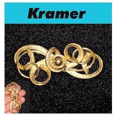 Kramer Textured Swirl Brooch Large Gold Plated