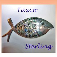Taxco Sterling Silver Abalone Large Fish Brooch Mexico