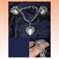 Art Nouveau Sterling Silver Puffed Heart Charm Bracelet for Petit Wrist