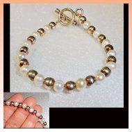 Sterling Silver Gold Wash Ball  Freshwater Pearl Bracelet
