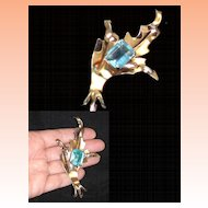 Sterling  Silver Gold Overlay Art Nouveau Art Deco Blue Topaz Art Glass Brooch