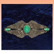 Victorian Egyptian Revival Double Wing Dragon Egg Brooch Sash Pin