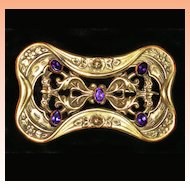 Victorian  Amethyst Glass  Brooch Sash Pin  C1885-1910