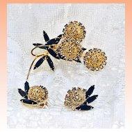 Juliana Black Navette Rhinestone Flower  Brooch Earrings  Demi Parure