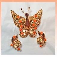 Juliana Rhinestone Butterfly Brooch Earrings Set Demi Parure