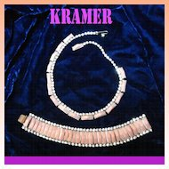 Kramer Pink Thermoset Rhinestone Necklace and Bracelet Demi