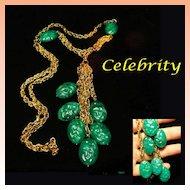 Celebrity NY Multi Chain Green Dangle Necklace