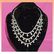 Kramer Three Strand Rhinestone Draped Bib Necklace Signed