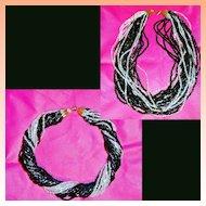 Multi Strand Black Crystal Glass Bead Necklace Torsade