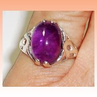 Sterling Silver Amethyst Cabochon Ring  size 7-1/2