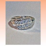 Aquamarine Sterling Silver Fashion Ring  size 7