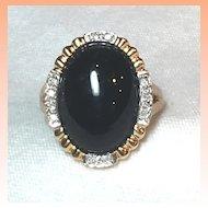 14 Karat Gold Diamond & Onyx Ring Signed   Size 6 ¾