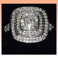 Sterling Siver Modernist Diamond Ring  1 carat  size 7