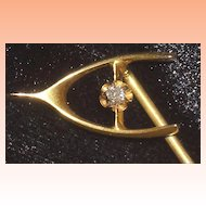 14K Gold Wishbone Stickpin with Diamond Accent
