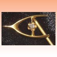 14K Gold Wishbone Stickpin with Diamond Accent
